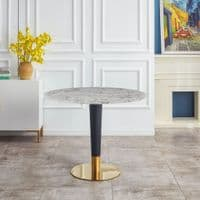 AUGUSTUS Luxury Round White Marble Dining Table with Black & Gold Leg - 100cm